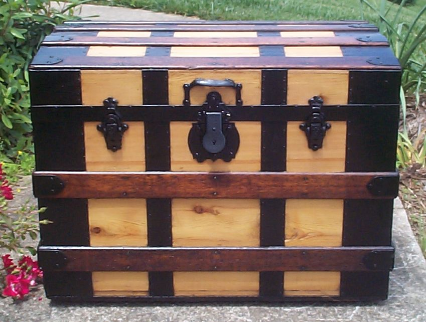 restored all wood roll top antique steamer trunk for sale 673