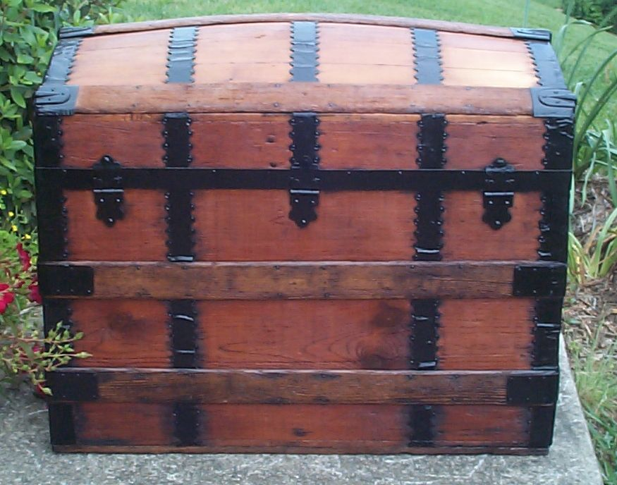 restored victorian all wood humpback or dome top trunk for sale 674