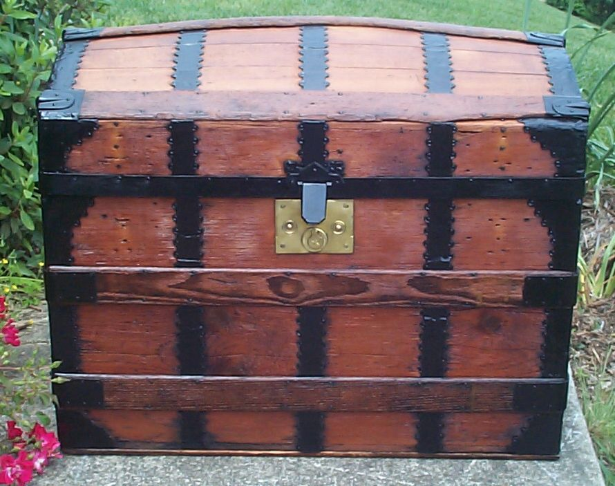 restored all wood dome top antique steamer trunk for sale 674