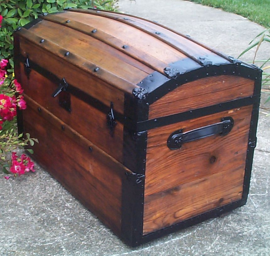 restored victorian all wood humpback or dome top trunk for sale 675