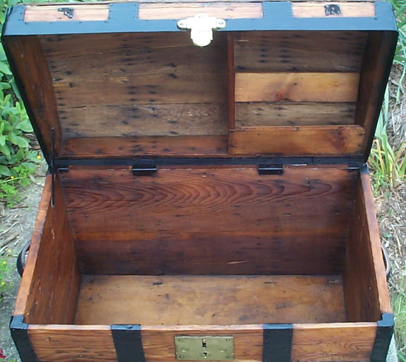 restored victorian all wood humpback or dome top trunk for sale 676