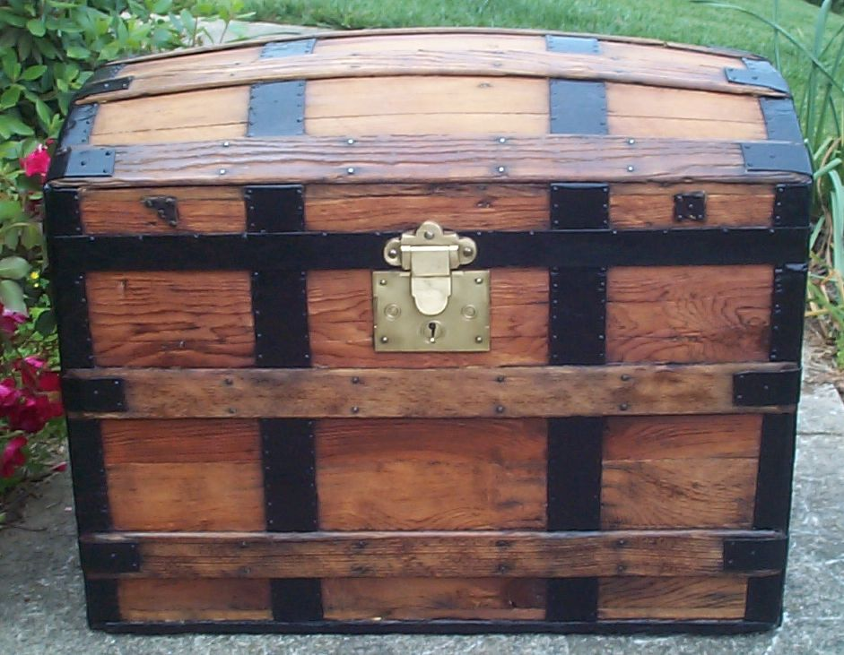 restored all wood dome top antique steamer trunk for sale 676