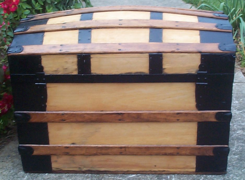 restored victorian all wood humpback or dome top trunk for sale 677