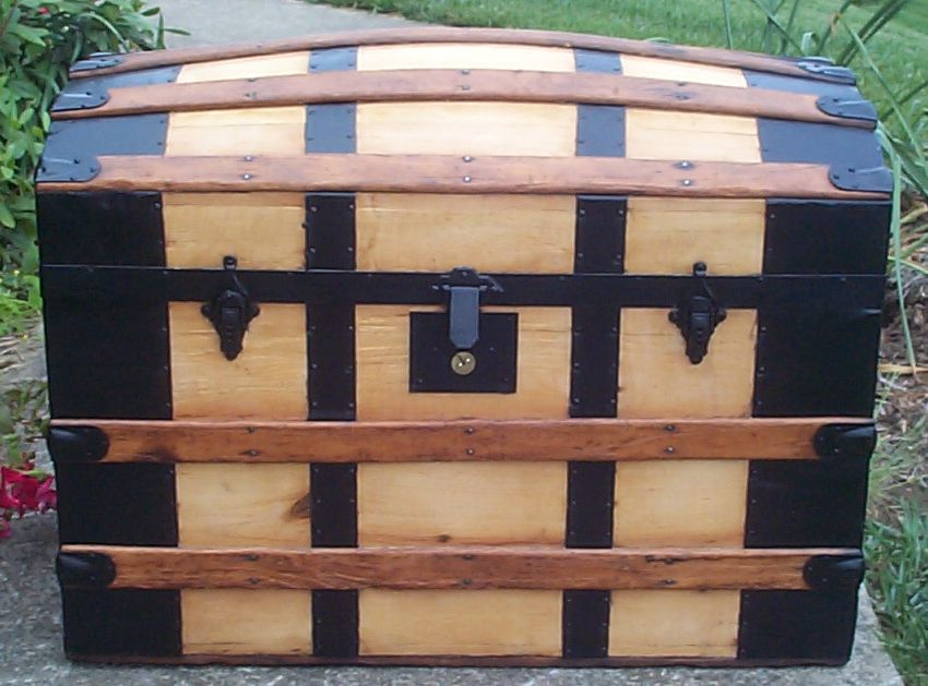 restored all wood dome top antique steamer trunk for sale 677