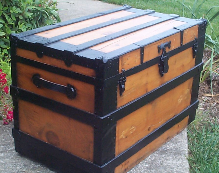 restored victorian all wood flat top trunk for sale 678