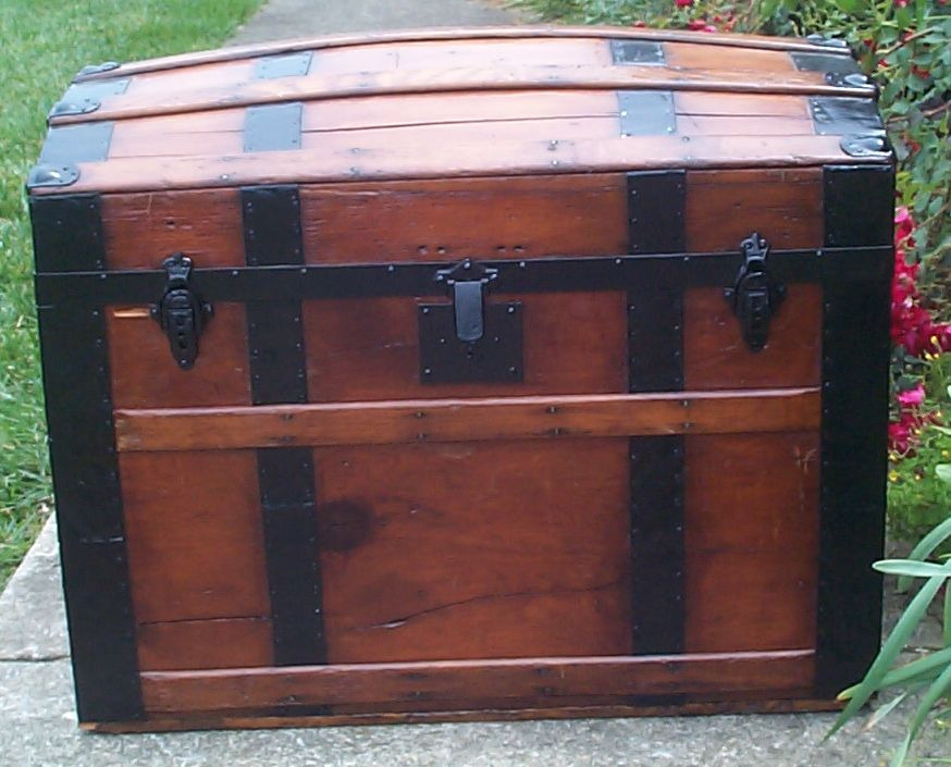 restored all wood dome top antique steamer trunk for sale 679