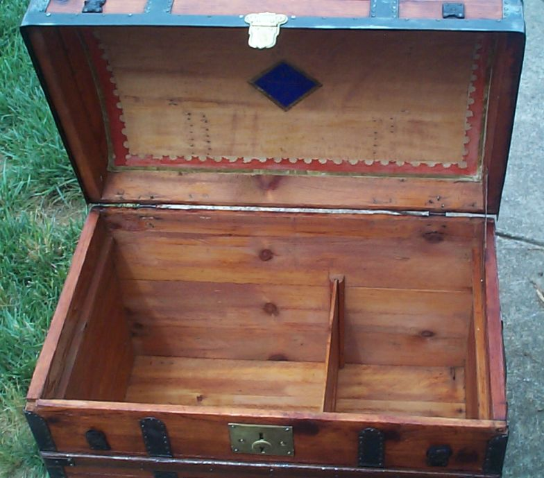restored victorian all wood humpback or dome top trunk for sale 680