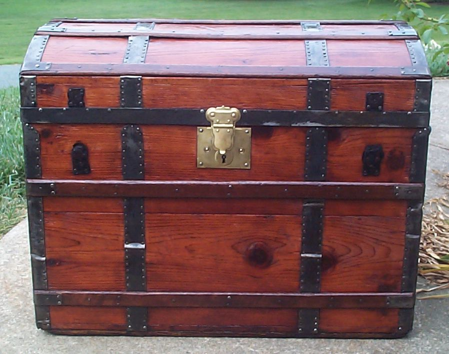 restored all wood dome top antique steamer trunk for sale 680