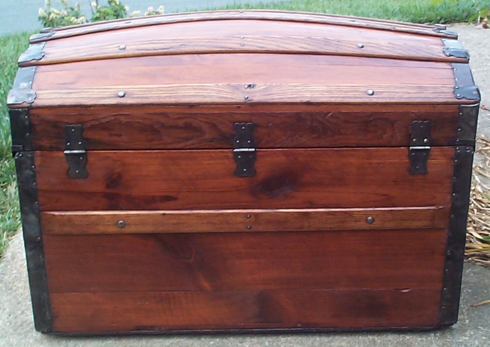 restored victorian all wood humpback or dometop trunk for sale 681