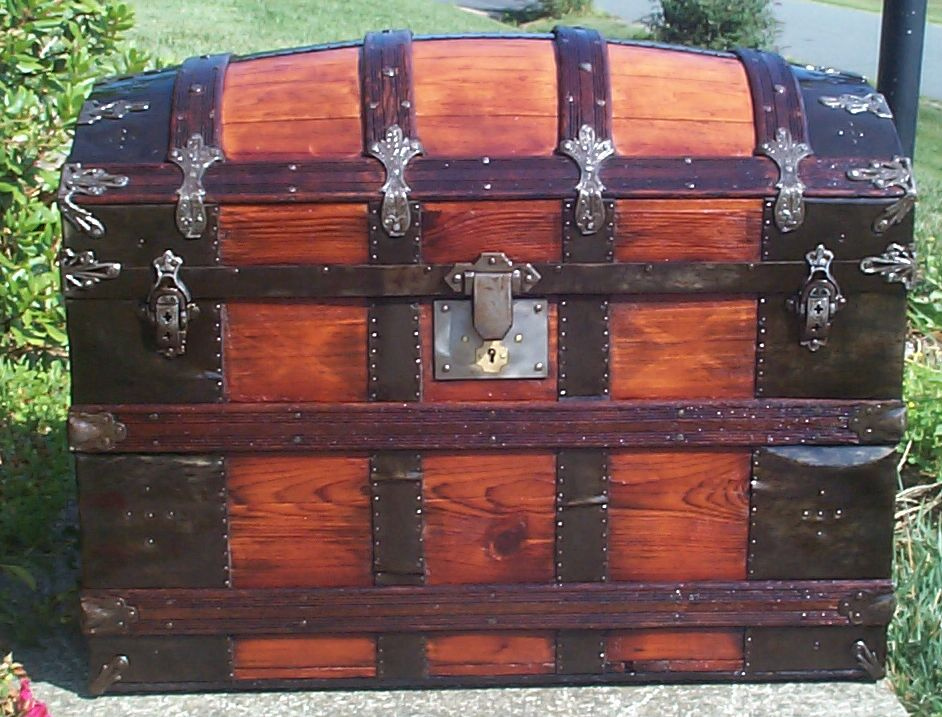 restored all wood dome top antique steamer trunk for sale 682