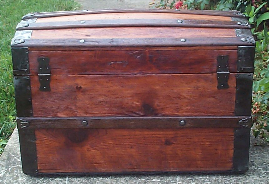 restored victorian all wood humpback or dometop trunk for sale 683