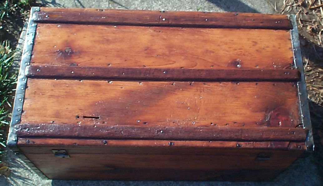 restored victorian all wood humpback or dometop civil war trunk for sale 684