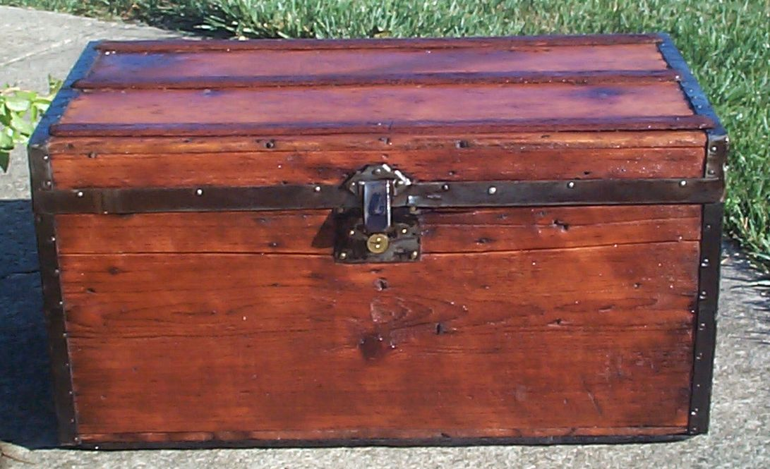 restored all wood dome top antique civil war steamer trunk for sale 684