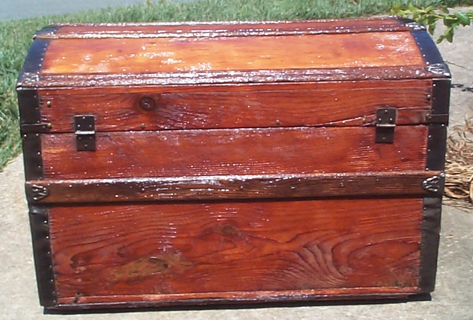restored victorian all wood humpback or dometop civil war trunk for sale 685