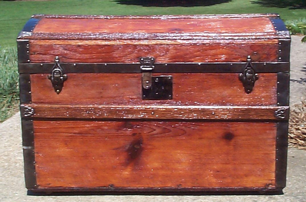 restored all wood dome top antique trunk for sale 685