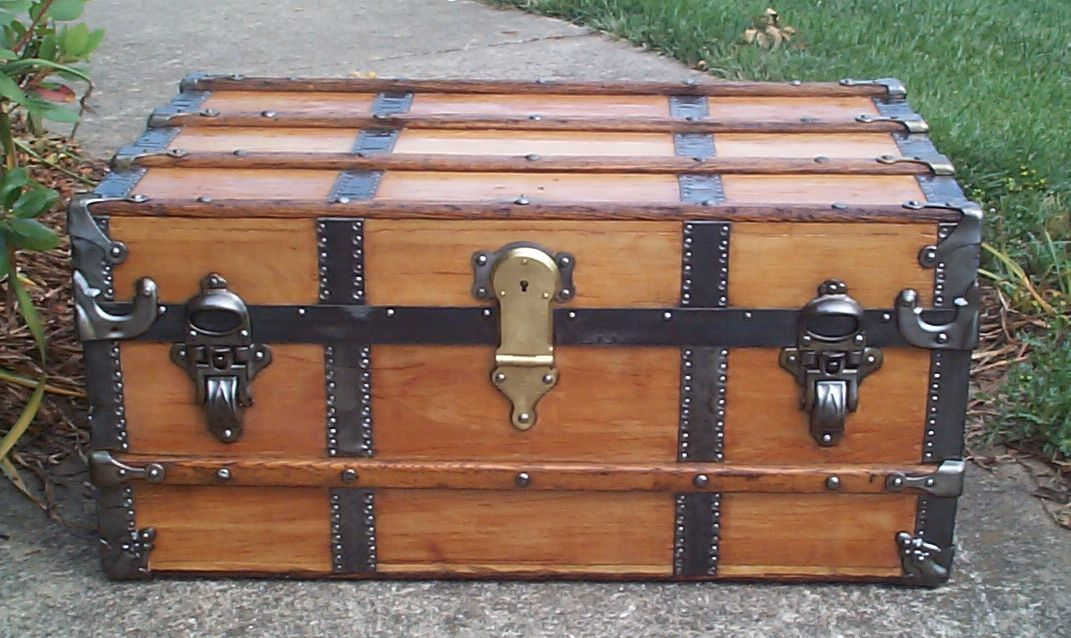 restored all wood henry likly flat top antique trunk for sale 686