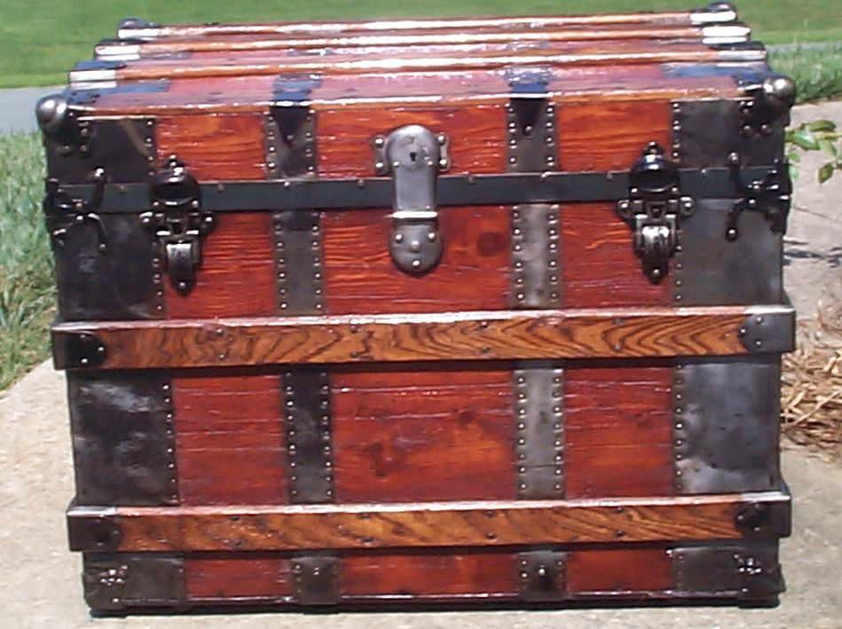 restored all wood flat top antique trunk for sale 687