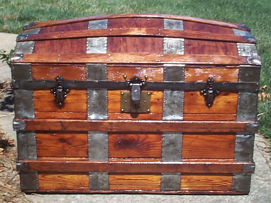 restored all wood dome top antique trunk for sale 688