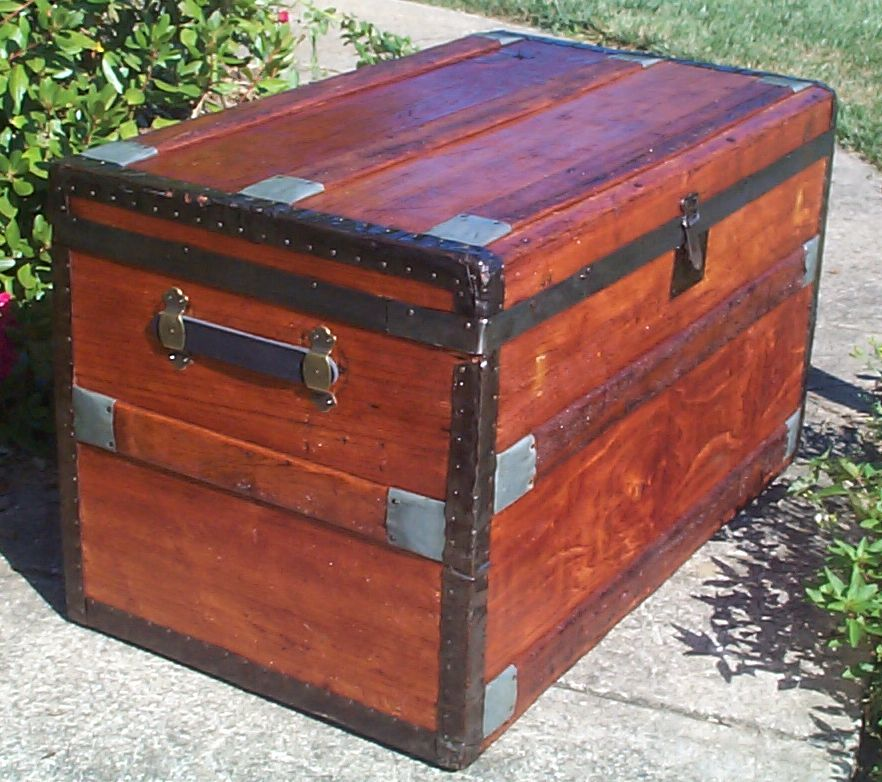 restored victorian all wood flat top trunk 694
