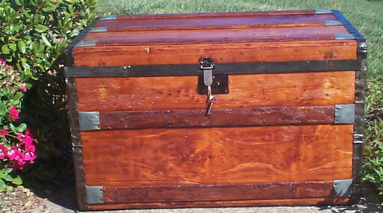 restored all wood flat top antique trunk 694
