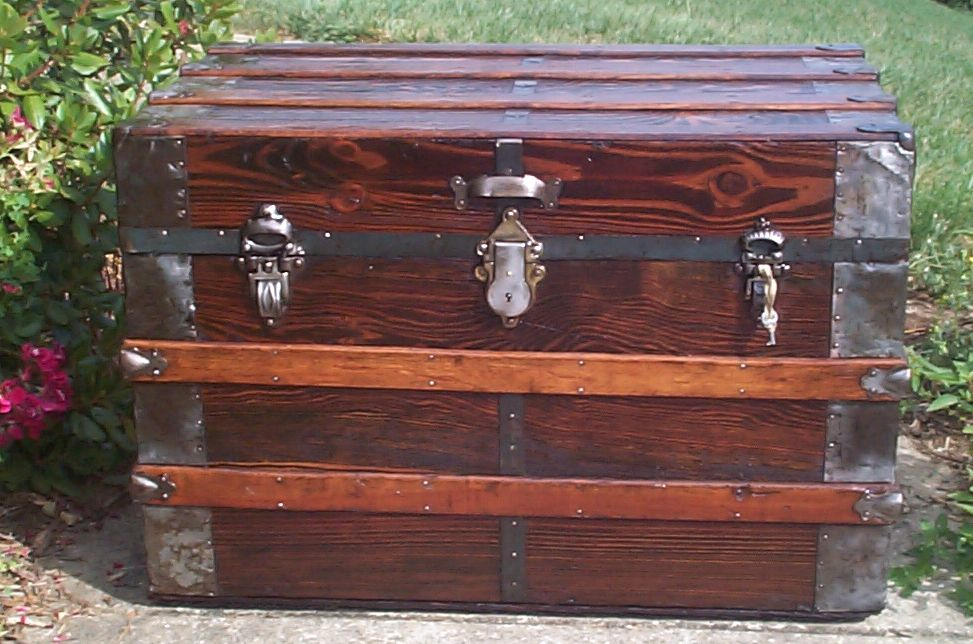 restored all wood flat top antique trunk 695