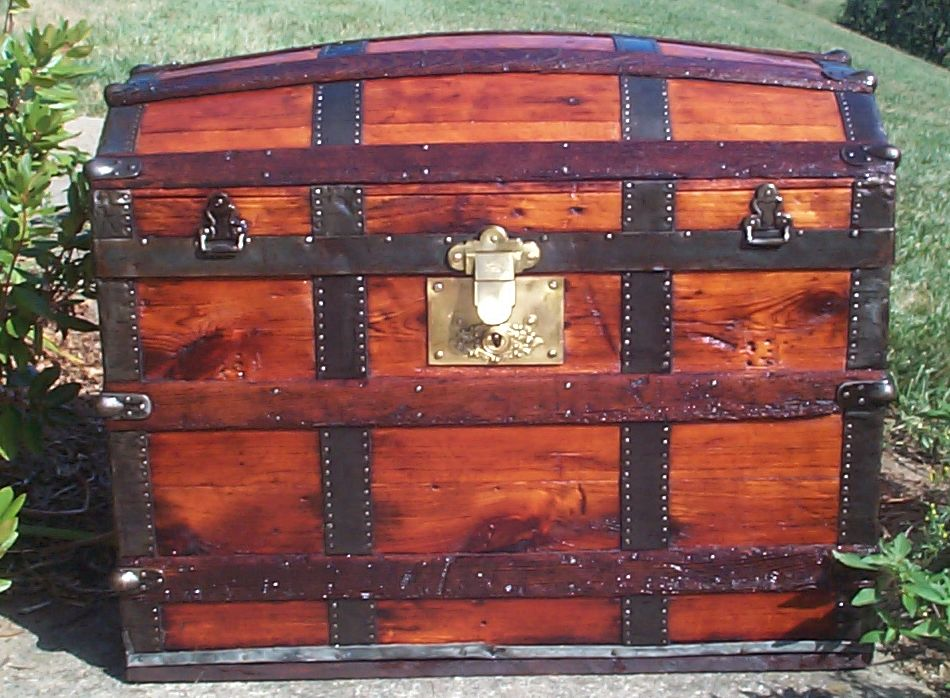 restored all wood dome top antique trunk 696