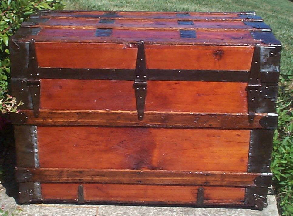 restored victorian all wood roll top trunk 697