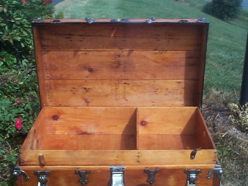 restored victorian all wood roll top trunk 698