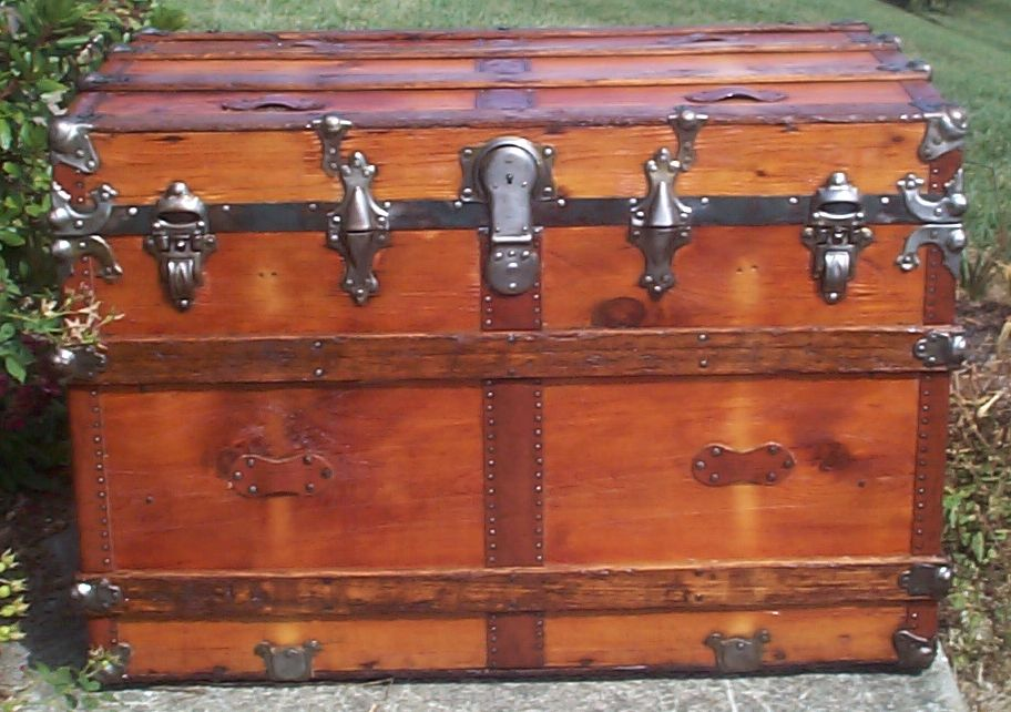 restored all wood roll top antique trunk 698