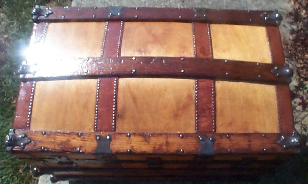 restored victorian all wood humpback dome top trunk 6998