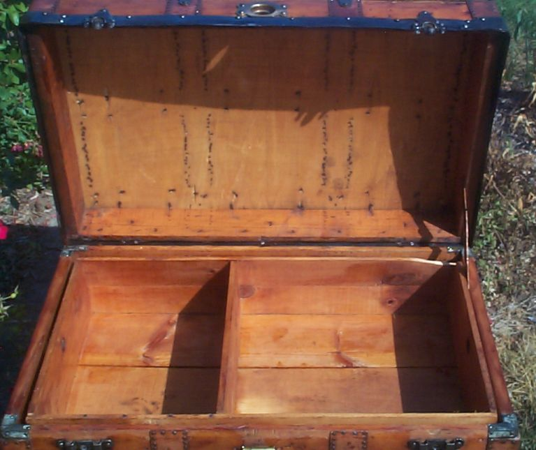 restored victorian all wood humpback dome top trunk 699