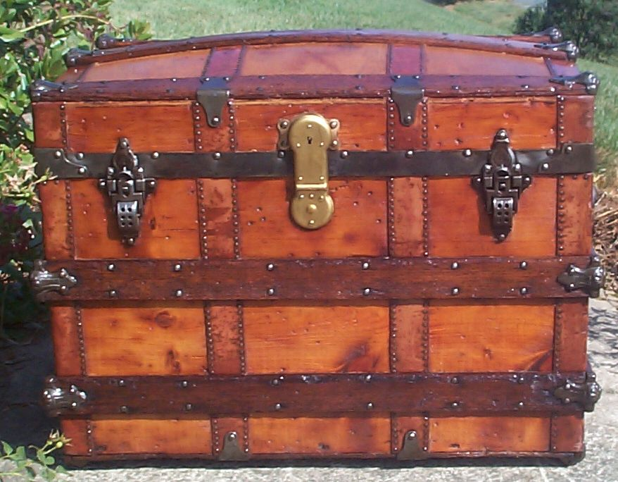 restored all wood dome top antique trunk 699