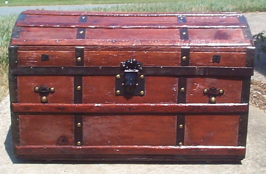 restored all wood dome top antique trunk for sale 700