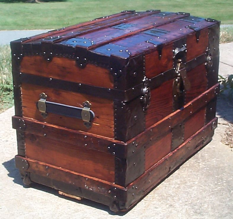 restored victorian all wood roll top trunk for sale 701
