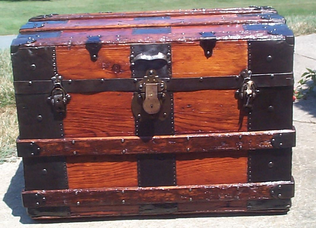 restored all wood roll top antique trunk for sale 701