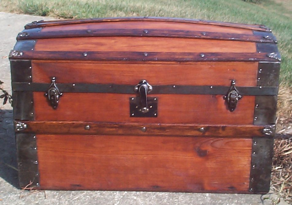 restored all wood dome top antique trunk for sale 702