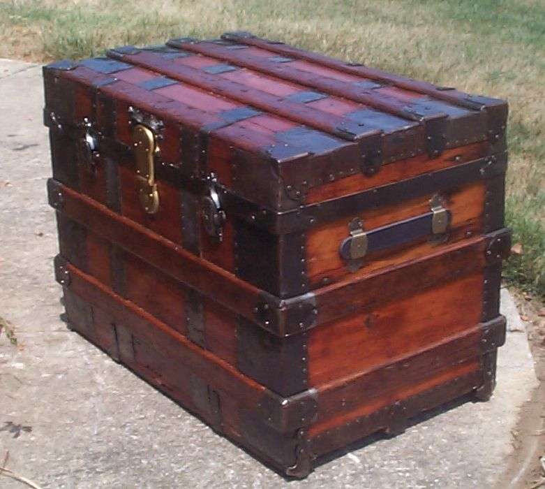 restored victorian all wood flat trunk for sale 703