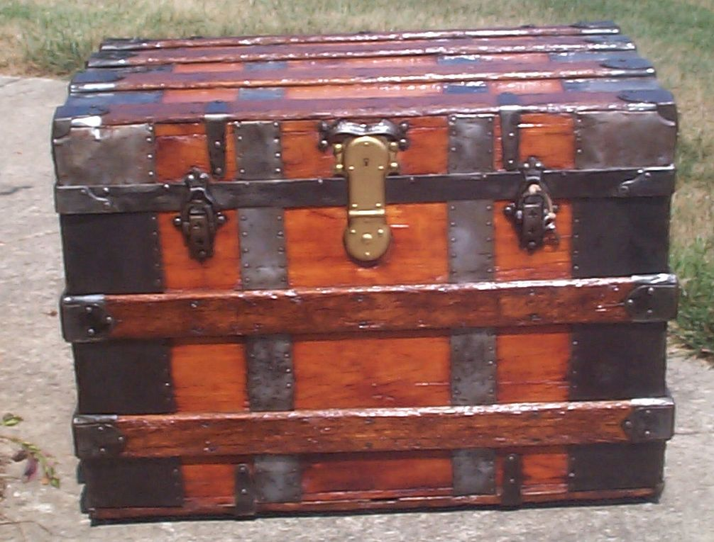 restored all wood flat top antique trunk for sale 703