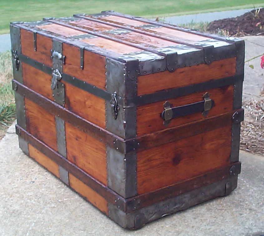 restored victorian all wood flat top trunk for sale 704