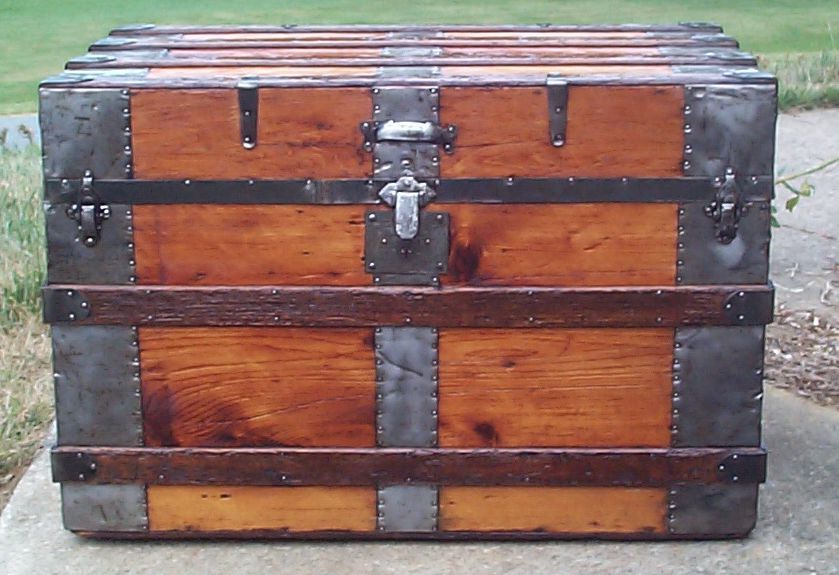restored all wood flat top antique trunk for sale 704