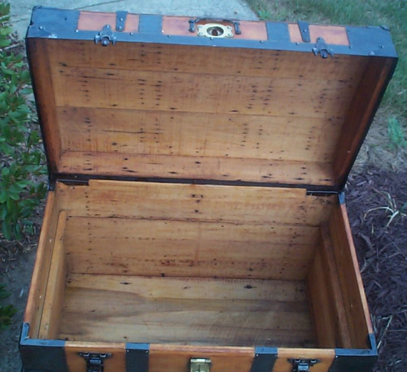 restored victorian all wood roll top trunk for sale 705