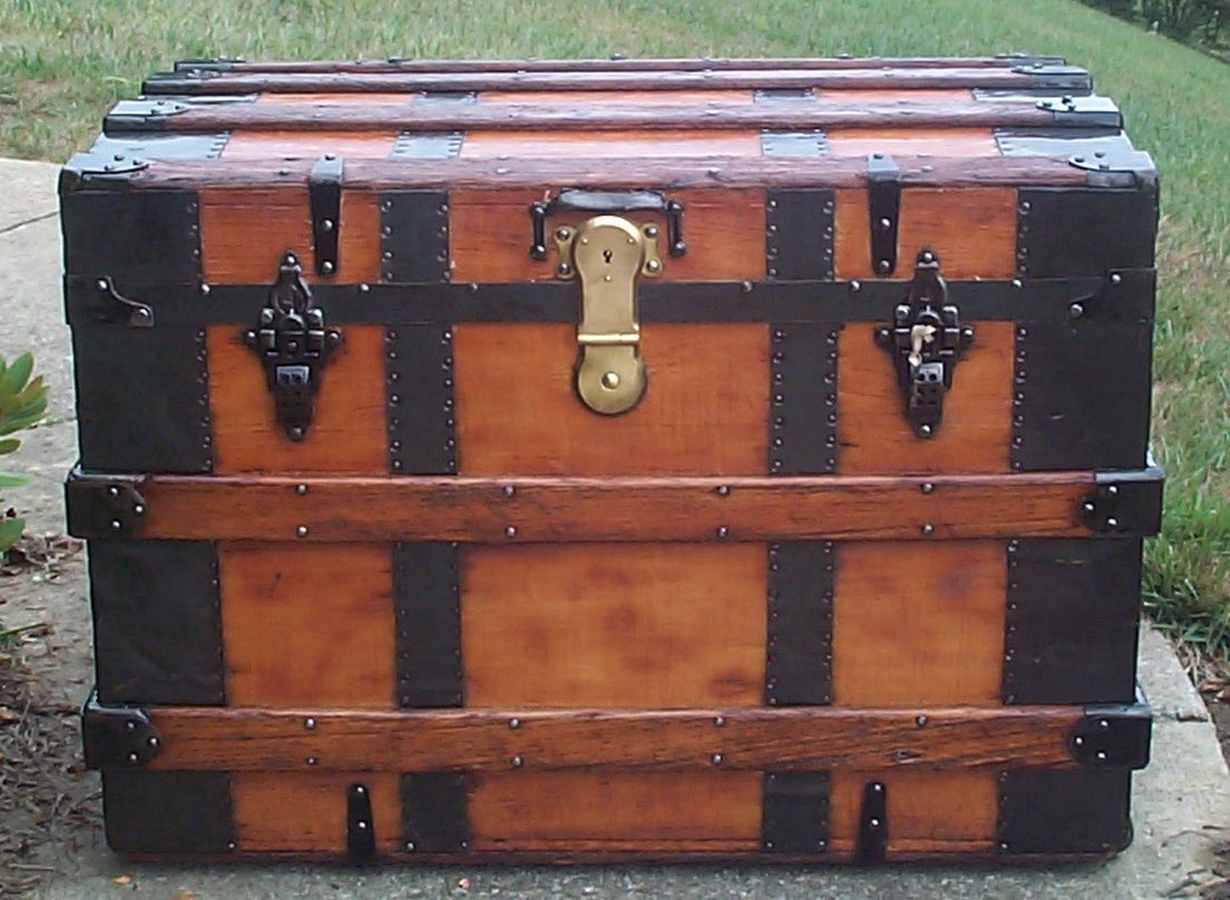 restored all wood roll top antique trunk for sale 705