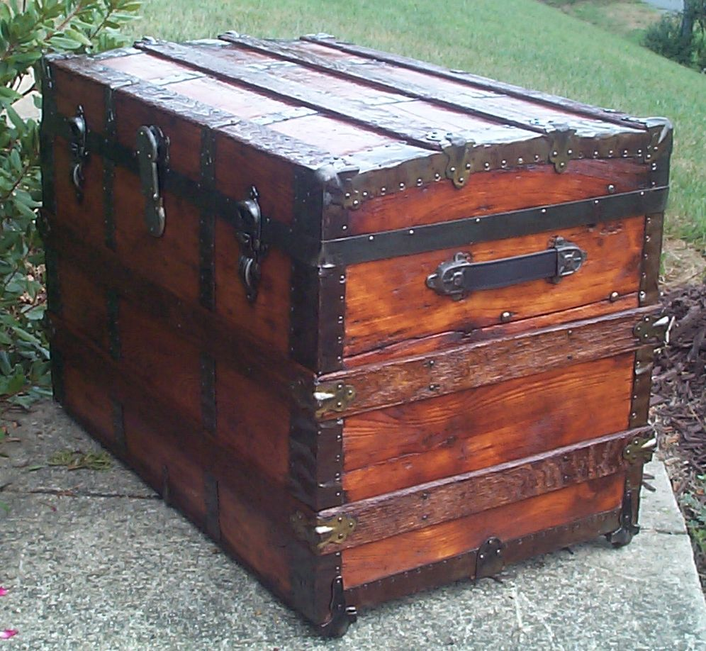 restored victorian all wood roll top trunk for sale 706