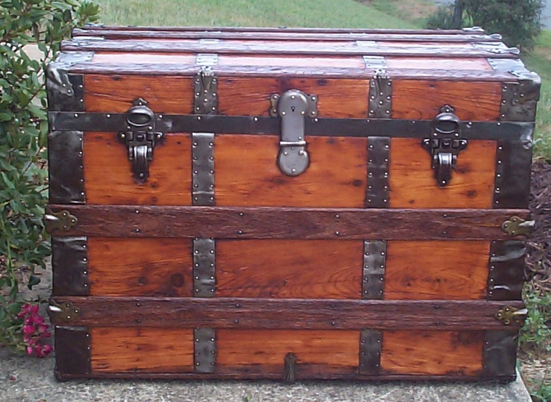 restored all wood roll top antique trunk for sale 706