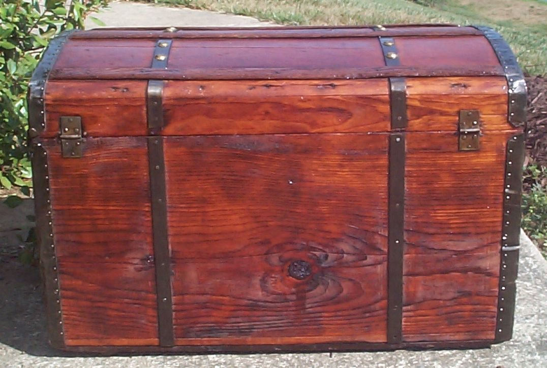 restored victorian all wood roll top trunk for sale 707