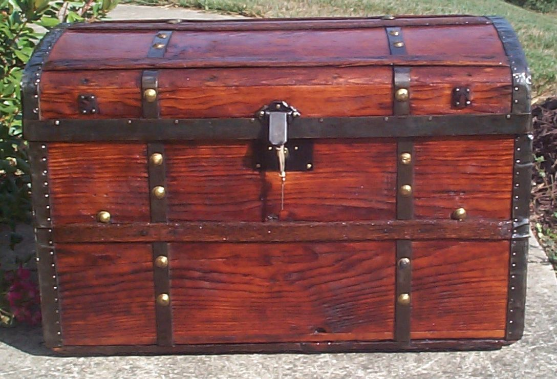 restored all wood roll top antique trunk for sale 707