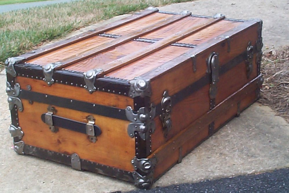 restored victorian all wood low profile flat top trunk for sale 708