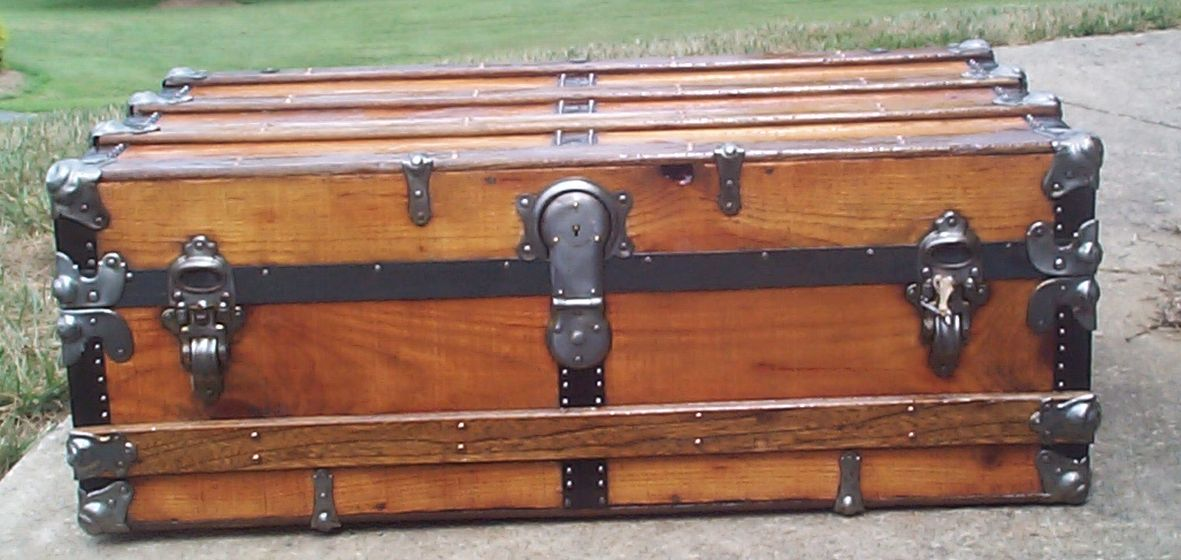 restored all wood low profile flat top antique trunk for sale 708