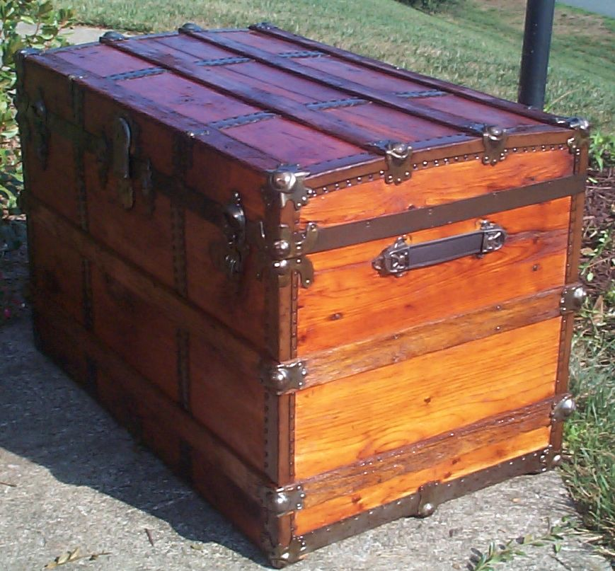 restored victorian all wood roll top antique trunk for sale 709