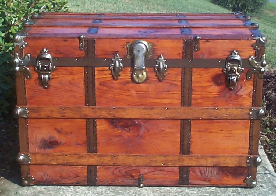 restored all wood roll top antique trunk for sale 709